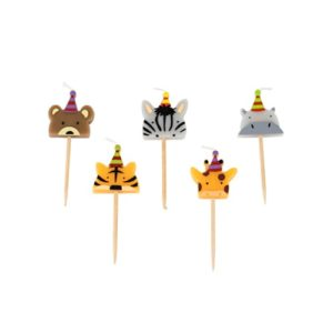 5 bougies animaux sauvages 2,5cm Bobidibou evenement anniversaire enfant decoration location 01 geneve