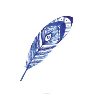 5 tatouages ephemeres plume bleue marine Sioou achat materiel decoration anniversaire enfant Bobidibou