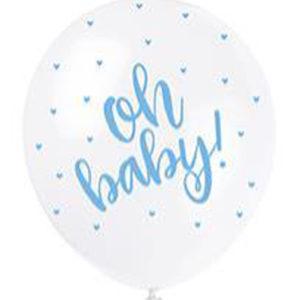 5 ballons latex oh baby bleu 30cm achat matériel decoration anniversaire enfant Bobidibou 01 pays de gex France