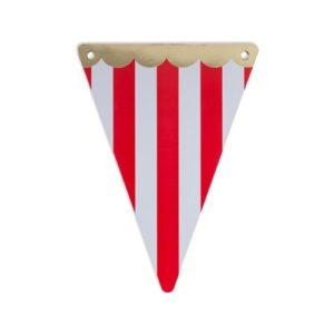 5 fanions cirque rouge feston dorure or 15x21cm E&C Events Pays de Gex anniversaire enfant location décoration matériel 01 genève-min