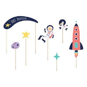 7 cake topper Space astronaute Bobidibou achat matériel décoration anniversaire enfant France
