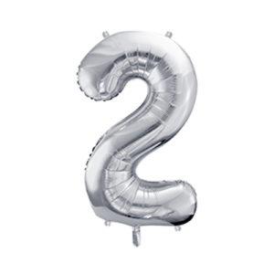 Ballon chiffre 2 argent 86cm achat matériel décoration anniversaire enfant Bobidibou 01 Pays de Gex France