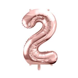 Ballon chiffre 2 rose gold 86cm achat matériel décoration anniversaire enfant Bobidibou 01 Pays de Gex France