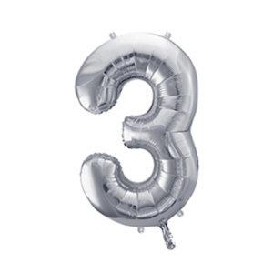 Ballon chiffre 3 argent 86cm achat matériel décoration anniversaire enfant Bobidibou 01 Pays de Gex France