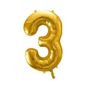 Ballon chiffre 3 Or 86cm achat matériel décoration anniversaire enfant Bobidibou 01 Pays de Gex France