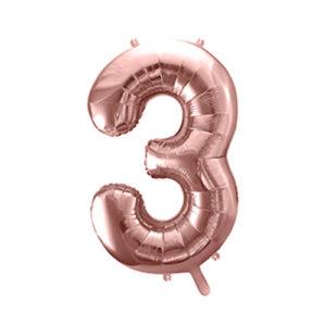 Ballon chiffre 3 rose gold 86cm achat matériel décoration anniversaire enfant Bobidibou 01 Pays de Gex France