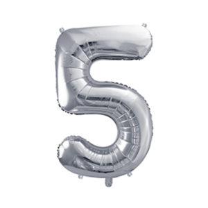 Ballon chiffre 5 argent 86cm achat matériel décoration anniversaire enfant Bobidibou 01 Pays de Gex France