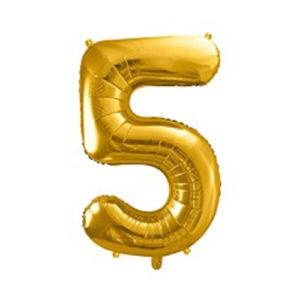 Ballon chiffre 5 Or 86cm achat matériel décoration anniversaire enfant Bobidibou 01 Pays de Gex France-min