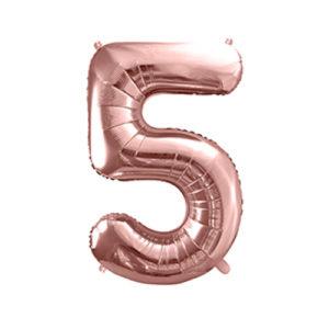 Ballon chiffre 5 rose gold 86cm achat matériel décoration anniversaire enfant Bobidibou 01 Pays de Gex France-min
