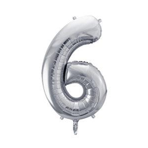 Ballon chiffre 6 argent 86cm achat matériel décoration anniversaire enfant Bobidibou 01 Pays de Gex France