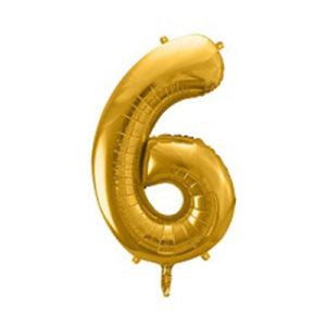 Ballon chiffre 6 Or 86cm achat matériel décoration anniversaire enfant Bobidibou 01 Pays de Gex France