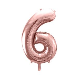 Ballon chiffre 6 rose gold 86cm achat matériel décoration anniversaire enfant Bobidibou 01 Pays de Gex France-min