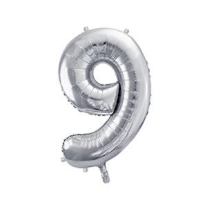 Ballon chiffre 9 argent 86cm achat matériel décoration anniversaire enfant Bobidibou 01 Pays de Gex France