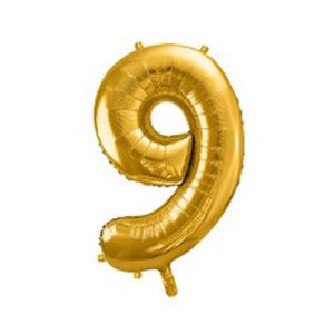 Ballon chiffre 9 Or 86cm achat matériel décoration anniversaire enfant Bobidibou 01 Pays de Gex France-min