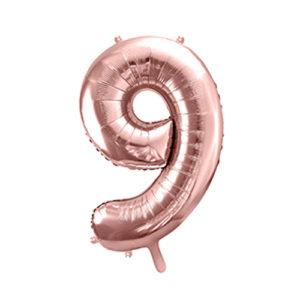 Ballon chiffre 9 rose gold 86cm achat matériel décoration anniversaire enfant Bobidibou 01 Pays de Gex France