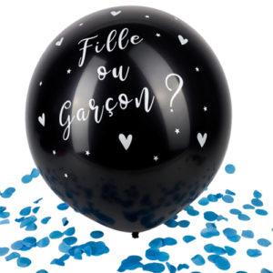 Ballon confettis bleues noir fille ou garcon Bobidibou évènement anniversaire enfant location décoration matériel 01 genève