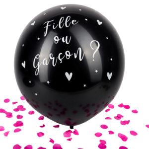 Ballon confettis roses noir fille ou garcon bobidibou évènement anniversaire enfant location décoration matériel 01 genève