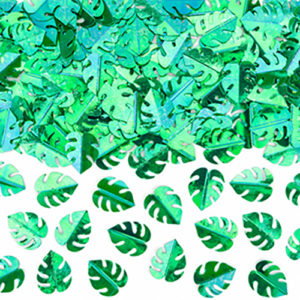 Sachet confettis feuilles tropicales 15g papier de soie Bobidibou achat matériel décoration anniversaire enfant France