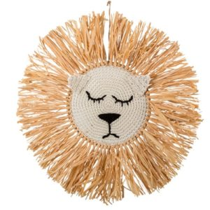 Tete de lion en raphia 45cm Bobidibou evenement anniversaire enfant decoration location 01 geneve-min