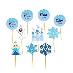 Toppers princesse des neiges Bobidibou achat matériel décoration anniversaire enfant France
