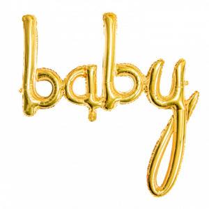 ballon Baby aluminium or doré Bobidibou evenement anniversaire enfant decoration location 01 geneve