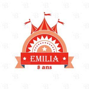 stickers cirque personnalisé Bobidibou anniversaire enfant achat matériel décoration France
