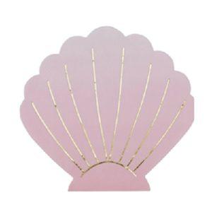 16 serviettes coquillage rose et or 33x33cm Bobidibou evenement anniversaire enfant decoration location 01 geneve