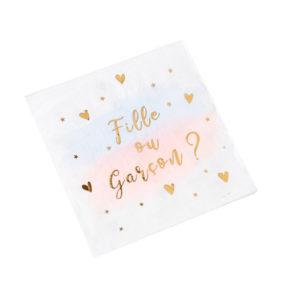 16 serviettesFille ou Garçon gender reveal blanc rose bleu or 3plis 33x33cm Bobidibou évènement anniversaire enfant location décoration matériel 01 genève