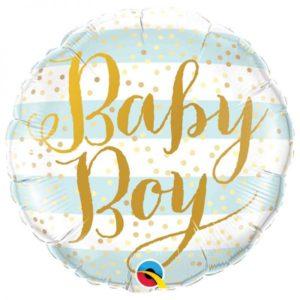 Ballon Baby Boy Blue Aluminium 18″ Stripes bobidibou evenement anniversaire enfant location décoration matériel 01 genève