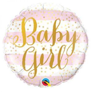Ballon Baby Girl Pink Aluminium 18″Stripes Bobidibou evenement anniversaire enfant location décoration matériel 01 genève