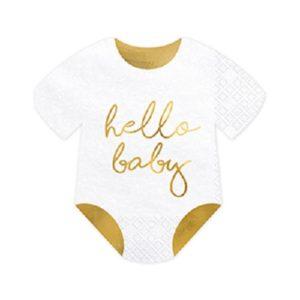 Serviettes body Hello Baby 16x16cm Bobidibou achat matériel décoration anniversaire enfant France