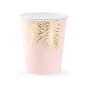 6 gobelets tropical 220ml rose et doré bobidibou anniversaire enfant