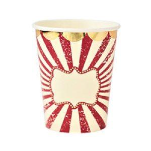 8 gobelets cirque vintage ivoire rouge et dorure or 255ml Bobidibou evenement anniversaire enfant decoration location 01 geneve
