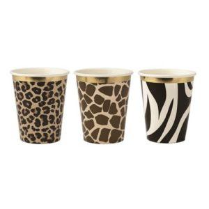 9 gobelets safari girafe zèbre léopard 255mL anniversaire enfant bobidibou achat matériel décoration France-min