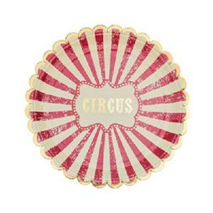 8 assiettes cirque vintage ivoire rouge et dorure or 23cm Bobidibou évènement anniversaire enfant location décoration matériel 01 genève