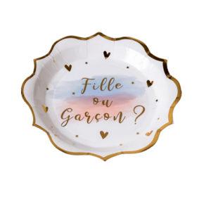 8 assiettes gender reveal blanc rose bleu et dorure or 23cm Bobidibou évènement anniversaire enfant location décoration matériel 01 genève