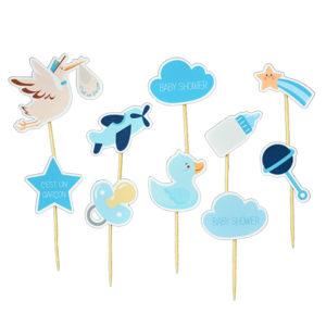 Mini toppers baby shower mini pic decoration gateau achat matériel décoration baby shower bleu garcon Bobidibou 01 pays de gex France