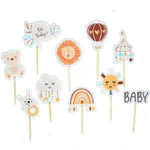Mini toppers baby shower mini pic decoration gateau achat matériel décoration baby shower neutre arc en ciel Bobidibou 01 pays de gex France
