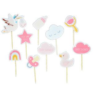 Cake toppers baby shower mini pic decoration gateau achat matériel décoration baby shower rose fille Bobidibou 01 pays de gex France