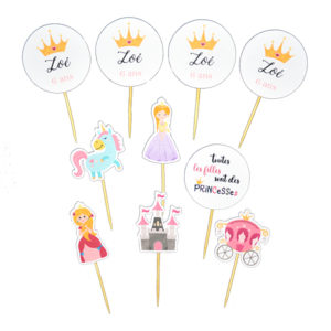 Cake toppers princesse licorne carosse chateau mini pic decoration gateau achat matériel décoration baby shower Bobidibou 01 pays de gex France