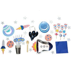 Kit espace astronaute Bobidibou France anniversaire enfant baby shower decoration vaisselle bougie ballon kit deco atelier gender reveal party