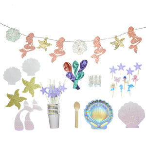 Kit sirène pailles personnalisées ballon guilrnade Bobidibou France anniversaire enfant baby shower decoration vaisselle bougie kit deco atelier gender reveal party