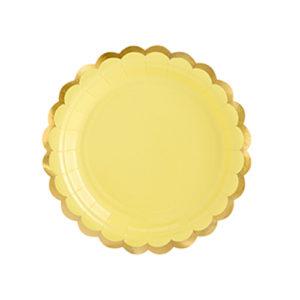 assiette jaune pastel Bobidibou achat matériel décoration anniversaire enfant baby arc en ciel France