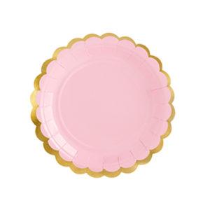 assiette rose pastel Bobidibou achat matériel décoration anniversaire enfant baby arc en ciel France