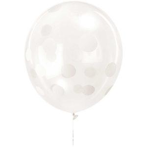 Ballons transparent à pois blancs x12 30cm baby shower bobidibou achat matériel décoration anniversaire enfant Genève France