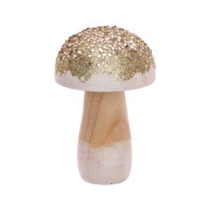 champignon bois nature blanc et Or 6x9cm 1 an baby shower bobidibou achat matériel décoration anniversaire enfant Genève France