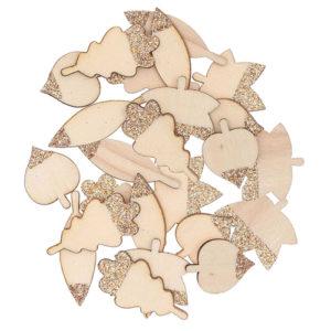 confettis bois feuilles pailletées 15x23mm - 30 x 26mm 1 an baby shower bobidibou achat matériel décoration anniversaire enfant Genève France