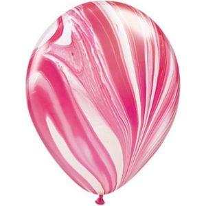5 ballons latex superagate Red & White 28cm achat matériel decoration anniversaire enfant Bobidibou 01 pays de gex France