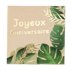 Serviettes Joyeux anniversaire Savane Jungle dorure or Bobidibou anniversaire enfant achat matériel décoration France