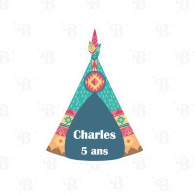 sticker-tipi-indien-bobidibou-anniversaire-enfant-decoration-pailles-toppers-personnalises